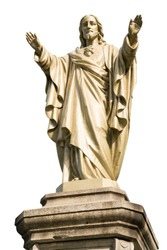 Jesus Christ statue isolated on white background. Religious icon concept.