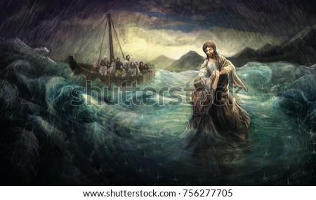 Jesus Christ walk on water
