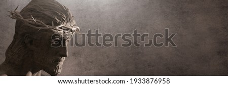Jesus Christ with Crown of Thorns Statue. Copy Space Banner 3D Rendering
