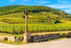 Jesus Christ wooden statue on cycling on road along vineyards to Kaysersberg village, Alsace Wine Route, France