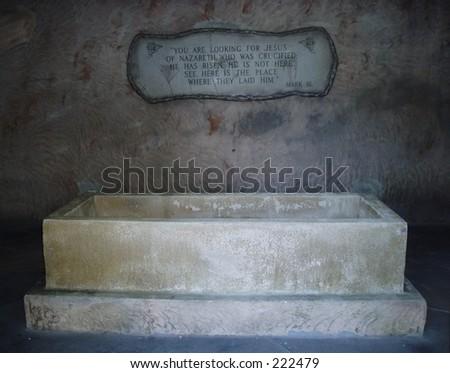 Jesus\' empty tomb. Text is Mark 16.