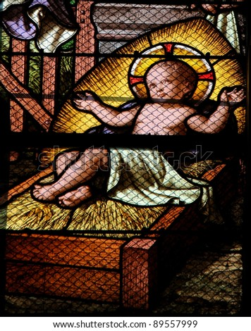 Jesus in the Manger: Nativity Scene stained glass window