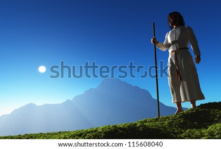 Jesus is in the background of a mountain landscape.