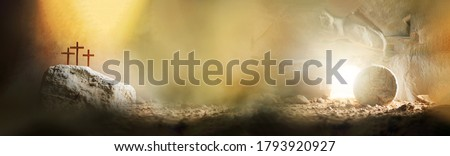 Jesus life chronology. Christian Easter concept. Born to Die, Born to Rise. Three crosses and empty tomb background. Jesus reason for season. Salvation, Messiah, Emmanuel, God with us Photo stock ©