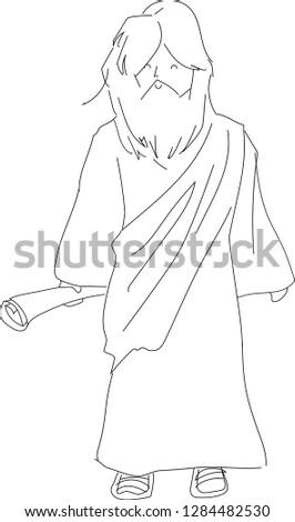 Jesus Line Cartoon black and white image