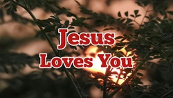 Jesus loves you bible words with dark evening background