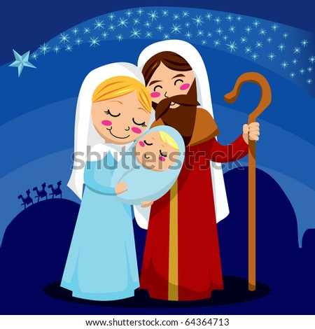 Jesus, Mary and Joseph under the shining star of Bethlehem. Raster version of vector illustration ID: 64246198