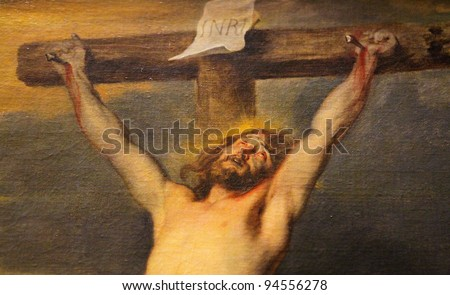 Jesus on the cross; famous painting created by the Flemish baroque painter Anthon Van Dyck.