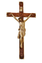 Jesus on the cross isolated on white