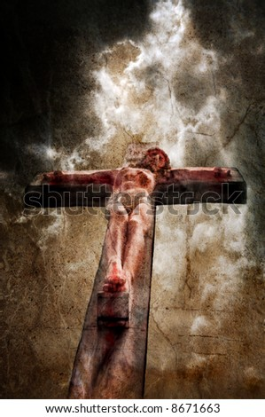 Jesus on the cross with stormy sky behind, overlayed with textures.