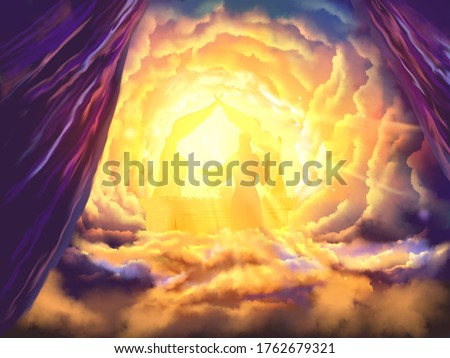 Jesus our Intercessor and Advocate, a depiction of Hebrews prophecy, religious illustration imagery Stockfoto ©