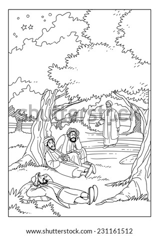 Jesus praying in the garden of gethsemane the disciples for Jesus and disciples coloring page