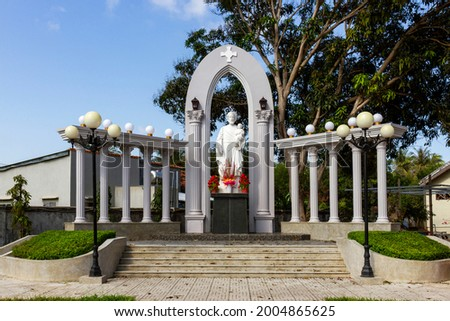 Jesus Statue At Mang Lang Church. Mang Lang Church Is One Of The Oldest Churches In Vietnam Imbued With An Architectural Style Of The 19th Century Stock fotó ©