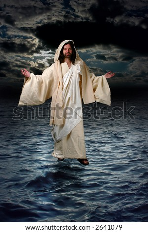Jesus walking on the water during a night with moonlight.