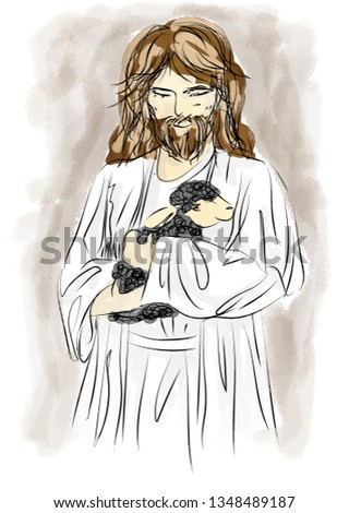 Jesus with black Sheep, Water Color , Jesus Christian Cartoon