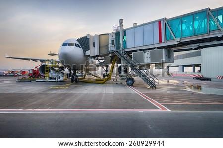 Jet Aircraft Docked In Dubai International Airport Stock Photo 268929944  Sh