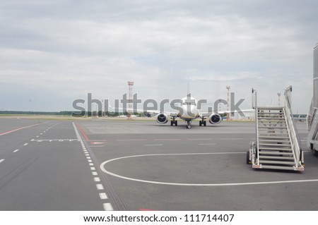Jet aircraft in airport of Riga