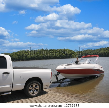 Jet Boat on a trailer preparing to launch.