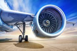jet engine against a sunset