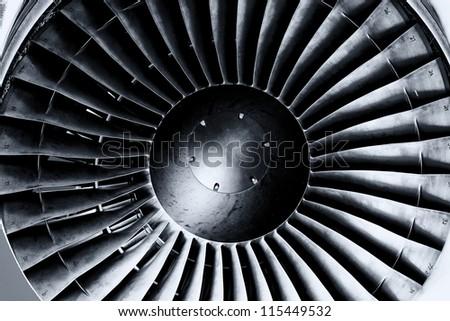 Jet engine close up. Black andwhite. Toning.