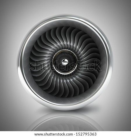 Jet engine front view. High resolution. 3D image