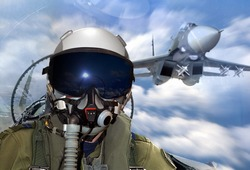 jet fighter pilot maneuver during training  exercise in mid air