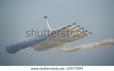 Jet fighters in formation during an air show (Italy)