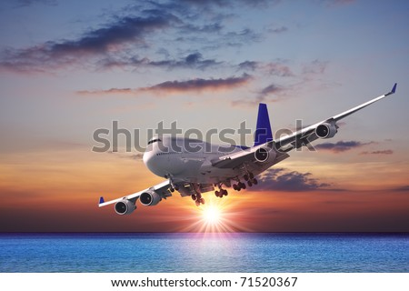 Jet liner over the sea at dusk