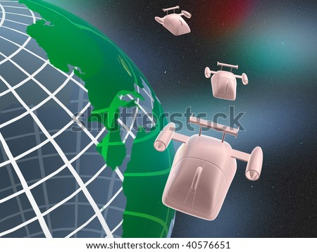 Jet mouses and planet in space.