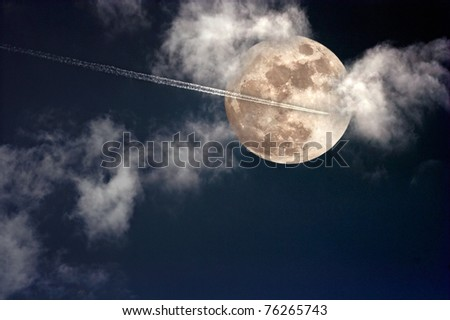 Jet plane crossing the sky in a cloudy full moon night