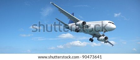 Jet plane in a sky. Panoramic composition. - stock photo