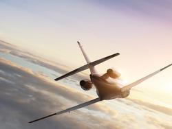 Jet plane on sunset