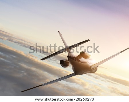 Jet plane on sunset - stock photo