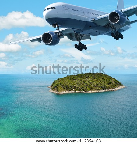 Jet plane over the tropical island. Square composition.