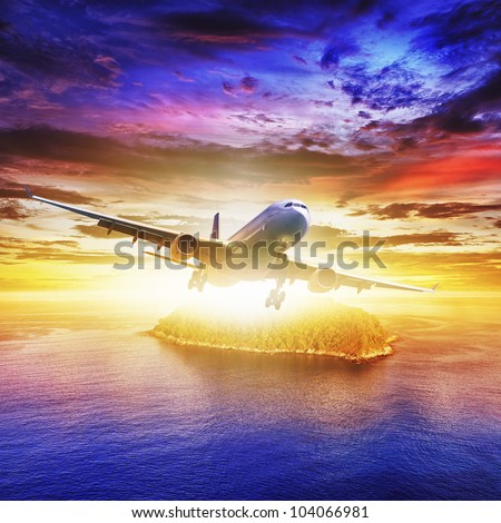 Jet plane over tropical island at sunset time. Square composition.