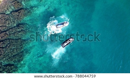 Jet ski as seen from above in caribbean turquoise clear waters Сток-фото ©