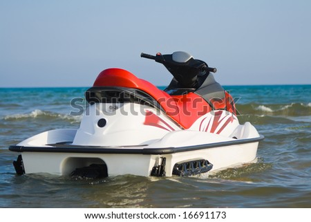 Jet-ski parked on water