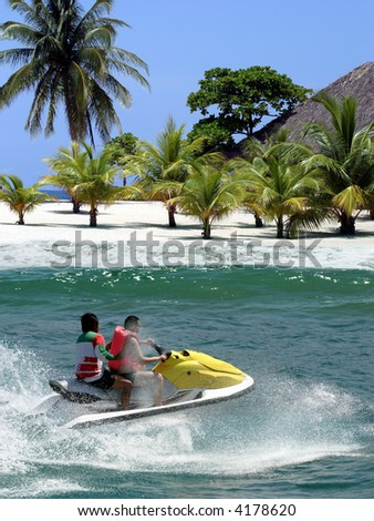Jet Ski racing on tropical island
