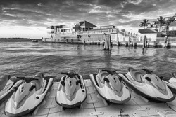 Jet skis and buildings of Key West.
