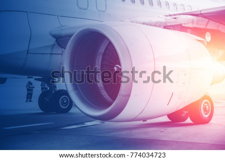 Jet turbine engine Flight for future of Aviation in Commercial aircraft background concept.