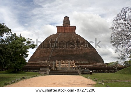 Jetavana Dagoba, Anuradhapura, the largest brick-built monument in the world, built in the 3rd century AD. Giant stupa in the ancient first capital of Sri Lanka. Now a UNESCO world heritage site.