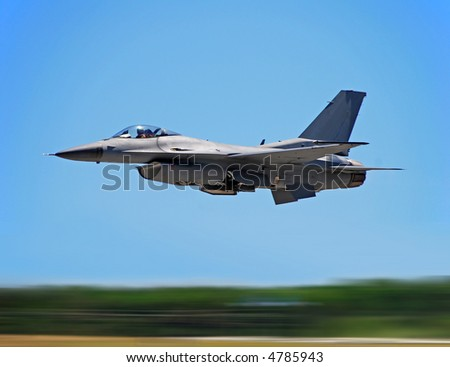 Jetfighter at high speed with motion blur