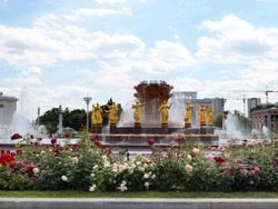 jets of clear clear water in the fountain Druzhba Narodov installed in a park in Moscow Russia