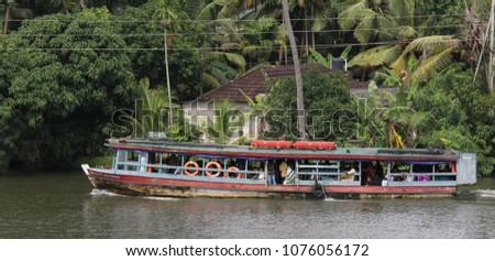 Jetty, a boat for public transport, Alappuzha, Kerala. Pics taken on 10/10/2016, Alappuzha, Kerala