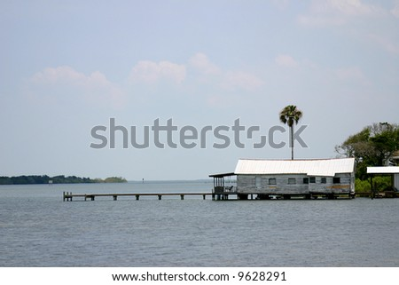 Jetty and rustic buildings in the Florida Sunshine