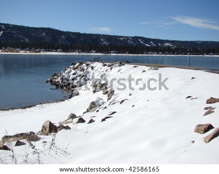 Jetty and Snow in the Southern California Mountains of Big Bear Lake