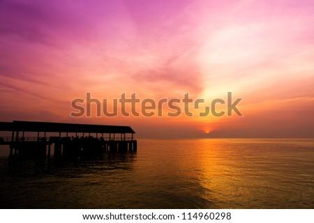 Jetty and sunset at Tioman Island, Malaysia