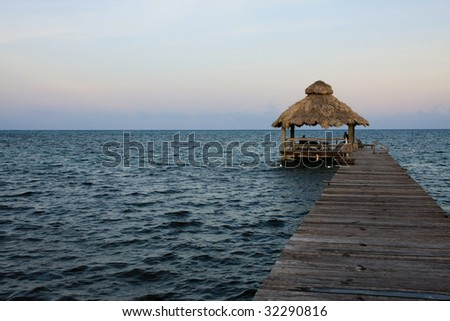 Jetty in Afternoon Light at Ambergris Caye, Belize.