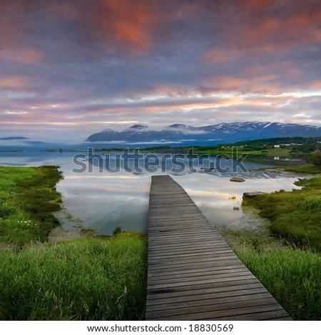 jetty in beautiful norway scenery