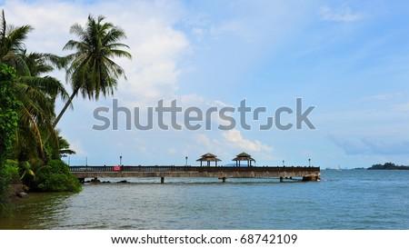 Jetty of Pulau Ubin, a tropical island in Singapore